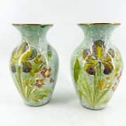 Pair Of Vases Italian Signs V200/24 Ceramic Hand Painted Green Gold Floral Italy