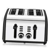 Toaster 4 Slice Extra Wide Slots 4 Slice Toasters Stainless Steel With Black