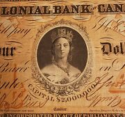 Very Rare 1859 Colonial Bank Of Canada 4. Two Signatures. Charl. 130-10-02-08.