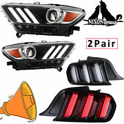 Led Headlights And Tail Lights For 2015-2020 Ford Mustang Clear Len 2 Sets Lamps