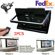 2pcs Electric License Car Plate Frame Flip Turn Over Usa Type W/ Remote Us Stock