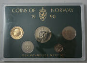 Norway 5 Coins 1990 Mint Set With Mint Medal Km Ms46