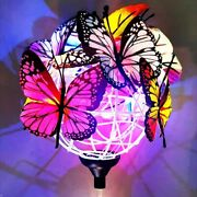 Outdoor Globe Solar Lights With Butterfly Garden Decoration Landscape Lights