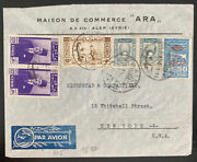 1930s Aleppo Lebanon Airmail Commercial Cover To New York Usa Tax Stamp Scra5