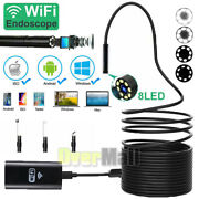 Wifi Endoscope, 8mm 5mm Inspection Camera Borescope Usb For Iphone Android Ios