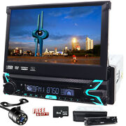 Single 1din Flip-out 7 Car Stereo Dvd Vcd Gps Map Usb Touch Screen Radio Camera