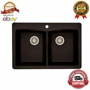 33 Kitchen Sink 1 Hole Dual Mount Double Bowl Classic Coffee Granite Composite