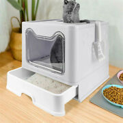 Self-cleaning Hooded Cat Litter Box Enclosed Large Kitty Toilet Box Tray Refills
