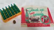 Vintage 7up Mini Bottles Sandwich Wrapper And 5 Yr Service Lapel Pin