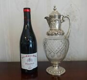 Antique Victorian English Sterling Silver Mounted Cut Glass Wine Claret Jug