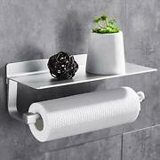 Paper Towel Holder With Shelf Wall Mounted Kitchen Paper Holder No Silver