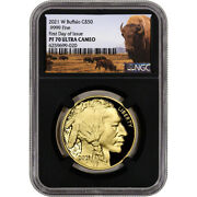 2021 W American Gold Buffalo Proof 1 Oz 50 Ngc Pf70 Ucam First Day Issue Black