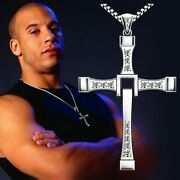 Fast And Furious Dominic Toretto Sterling Silver Cross Pendant Necklace Cz