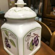 Villeroy And Boch Canister Jam Pot Large Size Lid Blueberry White Germany