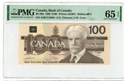 1988 Canada Bank Of Bc-60a Ajr 100 Dollars Thiessen Crow Banknote Pmg 65 Epq