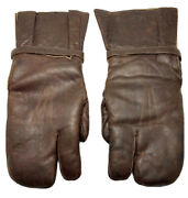 Ww2 Motorcycle Winter Gloves Army Military Leather Wool