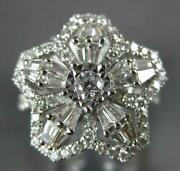 Estate Large 1.45ct Diamond 18kt White Gold 3d Round And Baguette Lucky Star Ring