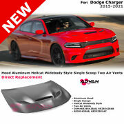 Aluminum Hood Hellcat Widebody Style With Scoop For Dodge Charger 2015-2021