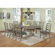 Best Quality Furniture Rustic Grey Trestle 9-piece Dining