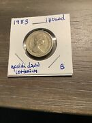 1983 Uk Great Britain 1 One Pound Error- Upside Down Lettering On Coin Edge- B