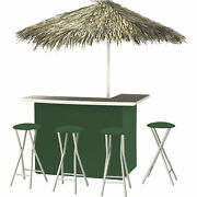 Solid Green Deluxe Portable Bar- Thatched Umbrella And 4 Stools