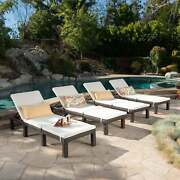Jamaica Outdoor Wicker Chaise Lounge With Cushion Set Of 4