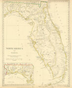 Florida. Showing Seminole Indian Reservation And Villages.sduk 1844 Old Map