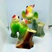 Pair Of Vintage 1940 To 50s Royal Copley Bird Spill Vases Figurines Porcelain
