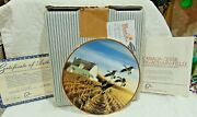 Nice W.l George Ducks Unlimited Flying Canada Geese Collector Plate 1988 Iob Coa