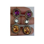 Natural Amethyst Citrine And Diamond Jewelry 925 Sterling Silver Earring 34 Mm