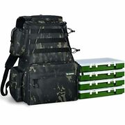 Rodeel Fishing Tackle Backpack 2 Fishing Rod Holders With 4 Tackle Boxes