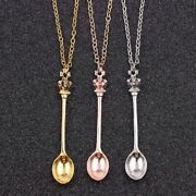 Tiny Tea Spoon Shape Pendant Necklace With Crown For Women Creative Jewelry