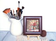 Miniature Oil Paintings Still Life Red Poppies Paintings In Frames 3.5 By 3.5