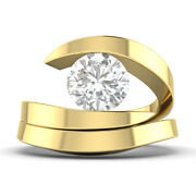 1ct D-si1 Diamond Round Engagement Ring 18k Yellow Gold Any Size