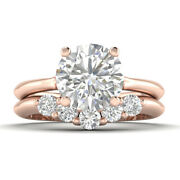 1.4ct D-si1 Diamond Round Engagement Ring 14k Rose Gold Any Size