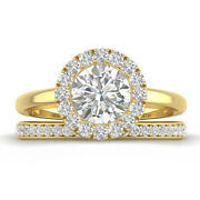 1.46ct D-si1 Diamond Halo Engagement Ring 18k Yellow Gold Any Size
