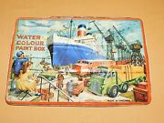 Vintage Old Ships Boats Trains Trucks Water Colour Tin Page England Paint Box