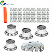 Chrome Hub Cover For Semi Truck Wheel Kit Axle Cover Front And Rear 33mm Lug