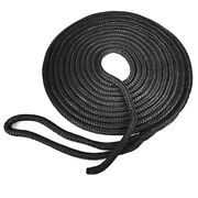 Seagrace Boat Dock Line | Double Braided 3/8 Inch X 15 Ft Black