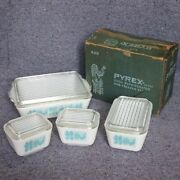 Vintage Pyrex Turquoise Blue Butterprint Amish Refrigerator 4 Set With Auth Box