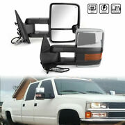 Led Turn Signal Power Heated Towing Trailer Mirrors Chrome For 07-13 Silverado