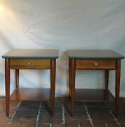 Mcm Mersman Vintage End Tables / Side Tables With Painted Tops And Original Pulls