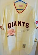 Willie Mays Signed Giants Jersey 24 Coa By Global Authentication