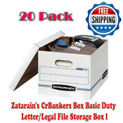 Bankers Box Basic Duty Letter Legal File Storage Box With Lids 20 Pack White