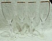Beautiful 4 New Oxford Gold Royal Doulton Crystal Stemmed Champagne Glasses