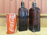 2 Antique 1800and039s Dr. J Hostetterand039s Stomach Bitters Brown 9 Bottles Square