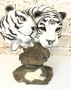 Bengal White Tiger Statue Full Figure And Bust On Rocks Resin Double Headed