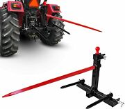 Category1 3 Point Tractor Trailer Hitch Quick Attach 17and039and039 Hay Bale Spear And 49and039and039