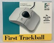 Vintage Logitech First Trackball Mouse T-ma Cst2 4114 Gray And Offwhite W/ Box