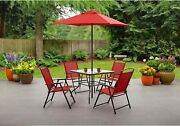 Outdoor Patio Dining Set Furniture Backyard Garden With 4 Chairs Table Umbrella